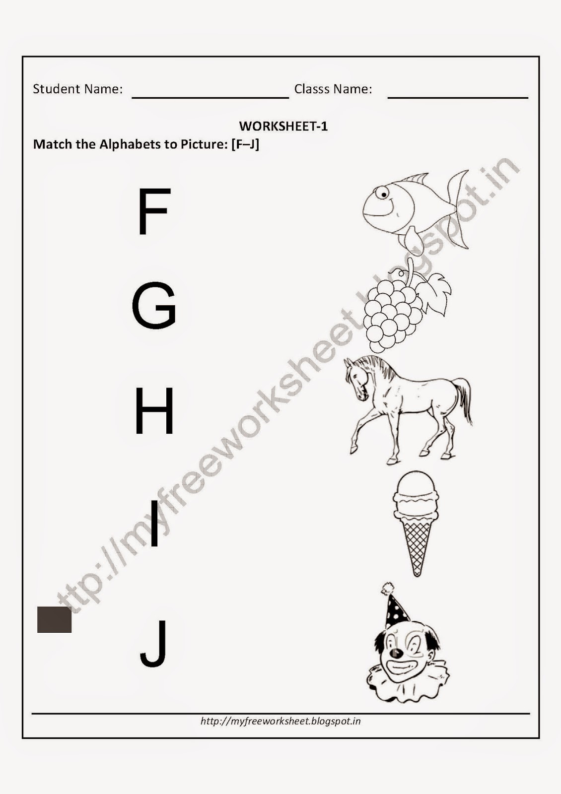 ... : Match the picture to alphabets-[F-J] Worksheets ~ My Free Worksheet